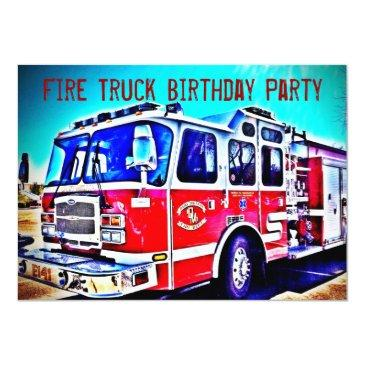 colorful kids fire truck birthday party invitations