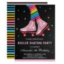 colorful kids roller skating birthday party invitations
