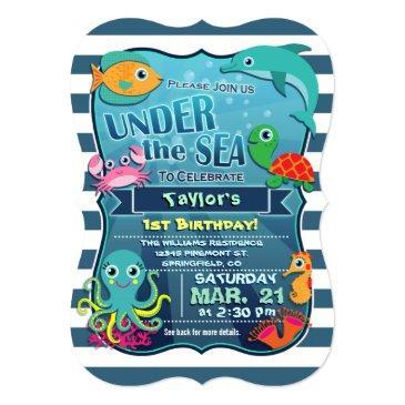colorful kid's sea life birthday party invitations