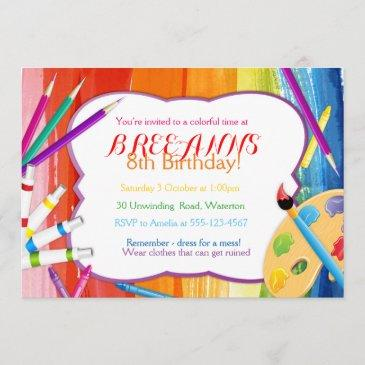 colorful rainbow art party invitation