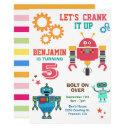 colorful robots kids birthday party invitation