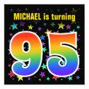 "colorful stars + rainbow pattern ""95"" birthday # invitation"