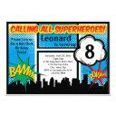 colorful superhero comic boy's birthday party invitation