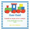 colorful train kids birthday blue, white border invitation