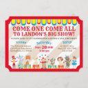 come one come all circus ticket birthday invitation