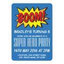 comic super hero blue personalized kids birthday invitations