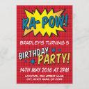 comic super hero red personalized kids birthday invitation