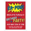 comic super hero red personalized kids birthday invitation