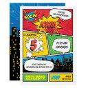comic superhero birthday invitation