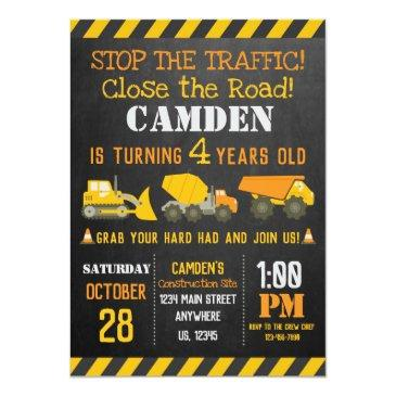 Small Construction Birthday Invitation Front View