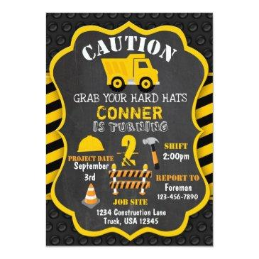 Small Construction Birthday Invitation | Dump Truck Front View
