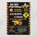 construction birthday invitation dump truck invite