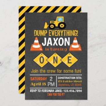 construction birthday invitation for boy