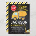 construction chalkboard birthday invitation