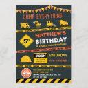construction dump truck birthday party invitation