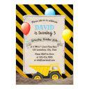 construction dump truck boy birthday party invitations