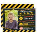 construction dump truck photo boy birthday party invitation