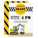 construction theme excavator black and yellow 2nd invitation