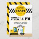 construction theme excavator black and yellow 2nd invitation