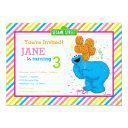 cookie monster striped birthday invitations