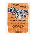 cool graffiti art 10th birthday party invitation