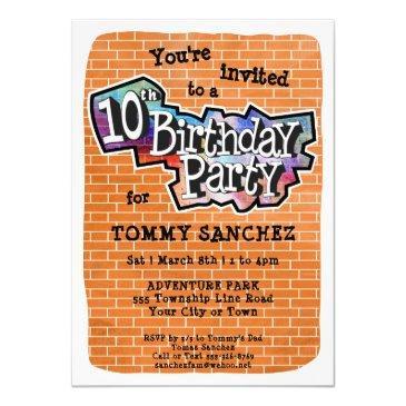 cool graffiti art 10th birthday party invitation