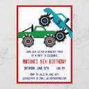 cool monster trucks birthday party invitations