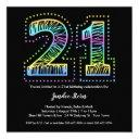 cool on black 21st birthday party invitations