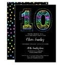 cool on black fun 10th birthday party invitations