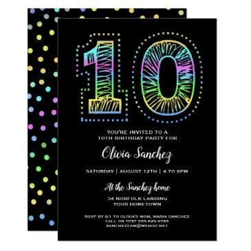 cool on black fun 10th birthday party invitation