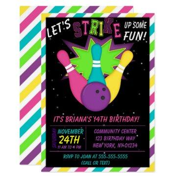 cosmic bowling invitations girls birthday party