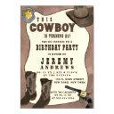 country brown cowboy watercolor birthday magnetic invitation