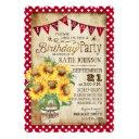 country sunflowers and gingham check birthday invitations