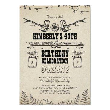 country western cowboy boots birthday party invitations
