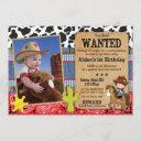 cowboy birthday invitation-wanted, western theme invitation
