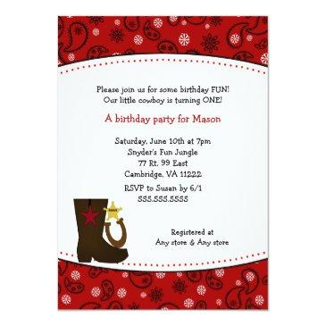 cowboy birthday party red paisley boot horseshoe invitation