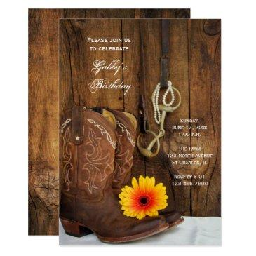 cowboy boots daisy country western birthday party invitations