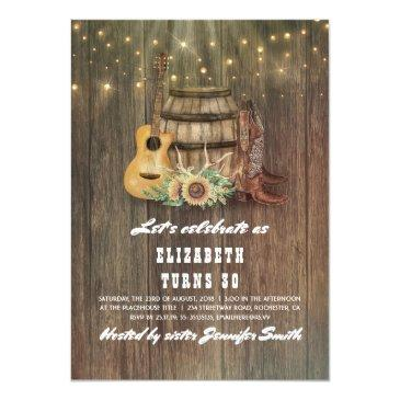 cowboy boots wine barrel country birthday party invitations