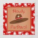 cowboy hat red paisley bandanna birthday party invitation