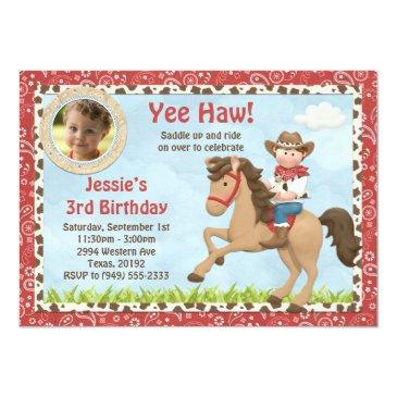 cowboy horse birthday party invitations