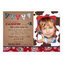 cowboy red bandanna western theme birthday invitations