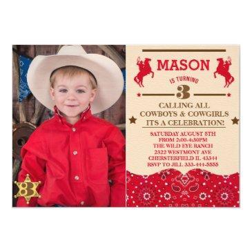 cowboy sheriff cowboy red bandanna invitations