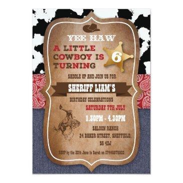 cowboy themed birthday party invitations