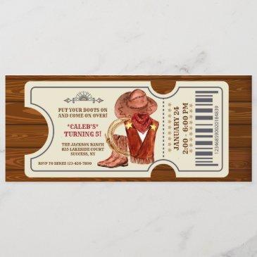 cowboy ticket birthday party invitation