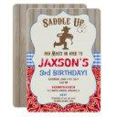 cowboy western birthday invitation boy rustic