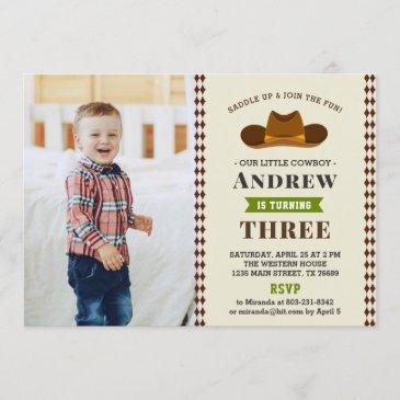 cowboy western rodeo baby boy photo 1st birthday invitation