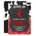 cowgirl birthday invitation black red cow print