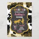 cowgirl birthday invitation / western / glitter