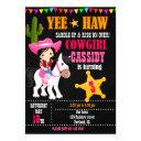 cowgirl birthday invitation wild west western 1st