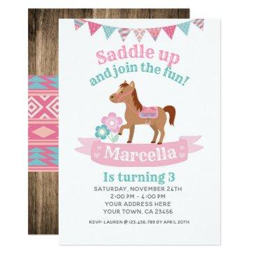 cowgirl, horse birthday invitations